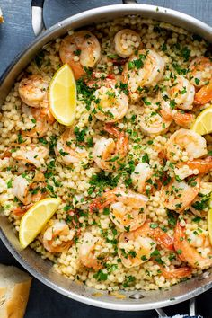 My take on a classic shrimp scampi recipe served over Israeli couscous. Made with shrimp and couscous tossed in a garlic butter lemon and white wine-based sauce this Italian-American dish is really citrusy refreshing and tastes like summer. Grilled Shrimp Recipes, Fish Recipes, Seafood Recipes, Pasta Recipes, Cooking Recipes, Healthy Recipes, Hawaiian Recipes, Seafood Boil, Mexican Recipes
