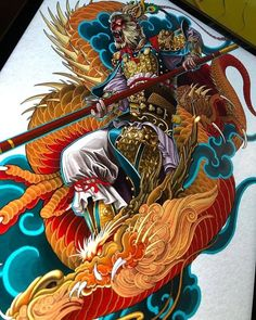 Japan Tattoo Design, Back Tats, Oriental, Frog Tattoos, Irezumi Tattoos, Monkey King, Dragon Design, Back Pieces, Color Theory
