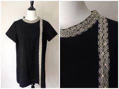 Vintage 60s Dress | Little Black Dress | VTG Black Dress | 1960s Evening Dress | VTG XL Dress | Cocktail Dress | Shift Dress | Vintage Dress