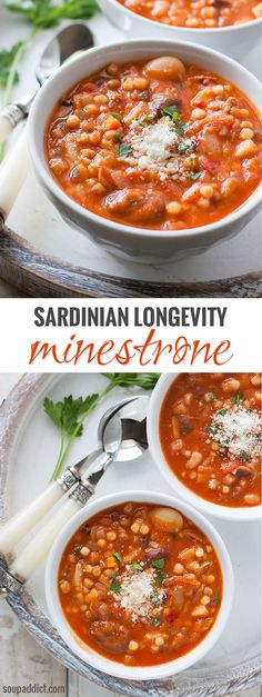 "A healthy soup that tastes fantastic, too. With lots of beans and vegetables, this recipe is based on the soup enjoyed daily by the long-living Sardinians profiled in ""The Blue Zones."""