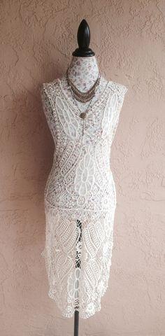 ed4236bee64 Bohemian gypsy wedding Sheer crochet detail romantic by BohoAngels