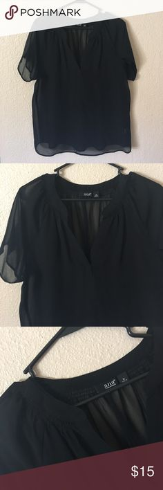 Sheer a.n.a blouse Sheer V-neck, gently worn. 100% polyester- no trades a.n.a Tops Blouses