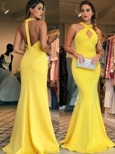 Gorgeous Halter V Neck Jersey Long Prom Dress Yellow Formal Evening Gown Elegant Prom Gown Yellow Prom Dress #dress #gown #prom #prom2018 #homecoming #formaldress #formalgown #weddingparty #promdress #promgown #evening #eveningdress #eveninggown #fashion #yellow #mermaid