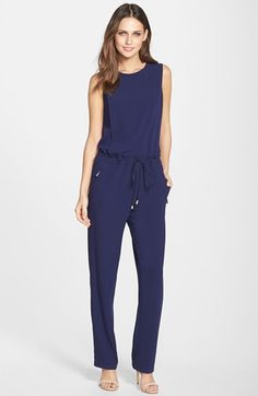 Free shipping and returns on Vince Camuto Drawstring Waist Crepe Jumpsuit (Regular & Petite) at Nordstrom.com. An easy silhouette nipped in with a drawstring at the waist defines the casual appeal of a chic sleeveless jumpsuit.