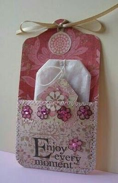 Tea Pocket Cards, would be a cute idea for pocket letters Card Tags, Gift Tags, Handmade Tags, Pocket Letters, Pocket Cards, Paper Tags, Tag Art, Craft Fairs, Scrapbook Cards