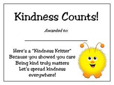 Adorable certificates to recognize kindness in your students! Printable! Watch your students beam with pride and continue to be kind!!!
