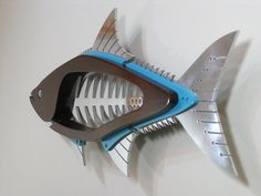 Metal and Wood Cobia Large Sculpture by TheWoodenFishMarket, $1096.00; Would love for the outdoor bar!