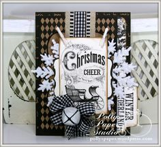 Christmas Cheer Holiday Greeting Card Handmade by PollysPaper on Etsy