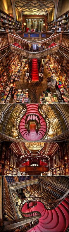 "Yet another reason to go to Portugal! Portugal's ""Livraria Lello & Irmão"" Is Possibly The Most Beautiful Bookstore In The World. Visit Portugal, Portugal Travel, Spain And Portugal, Portugal Trip, Porto Portugal, Oh The Places You'll Go, Places To Travel, Travel Destinations, Places To Visit"