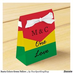 Shop Rasta Colors Green Yellow Red Stripes Flag Pattern Favor Box created by YourSparklingShop. Jamaican Party, Jamaican Wedding, Green Wedding Invitations, Wedding Favor Boxes, Wedding Ideas, Wedding Stuff, Wedding Inspiration, Bob Marley, Rasta Wedding
