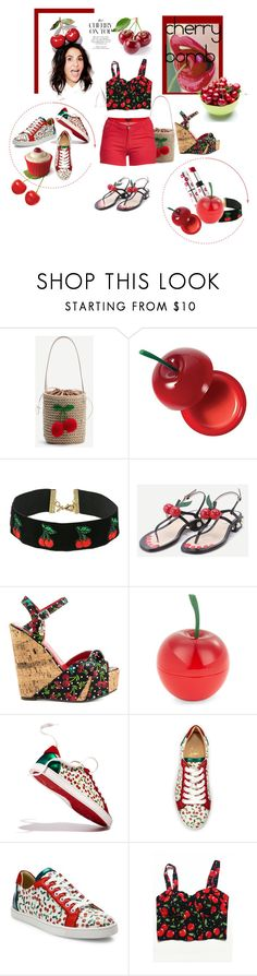 """""""Cherry Bomb!"""" by lheijl ❤ liked on Polyvore featuring WithChic, Charlotte Russe, Vanessa Mooney, Kipling, Iron Fist, Tony Moly, Christian Louboutin and 1826 JEANS"""