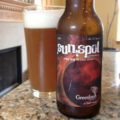 """Greenbush Sunspot.  """"Hot. Drenched. Delightfully blinding. Right. We're not talking about that ball of fire in the sky, but our refreshing Hefewiezen. Skip the shade and down a glass or two and be cool.""""  Grain: White wheat, 2 row malt, black malt and flaked wheat  Hops: Saaz  Yeast: German wheat yeast  Specs: 15 ibu alc. 6% by vol. 8.1º Lovibond Best Beer, Beer Bottle, Specs, Over The Years, Brewing, Ale, German, Cool Stuff, Drinks"""