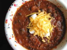 Crock Pot Steak and Black Bean Chili from Food.com:   								The weather is starting to cool off now and this is a easy chili recipe for the crock pot. This chili is very thick and rich. Makes a lot.