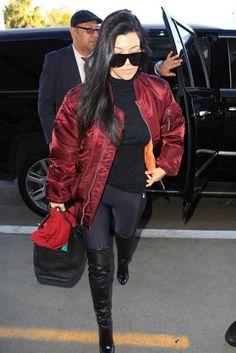 Kourtney Kardashian wearing Kanye Life of Pablo Alpha Industries Ma-1 Flight Jacket in Maroon