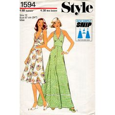 1970s Halter Dress Pattern in Two Lengths Style by BessieAndMaive