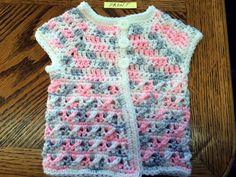 Handmade Crochet Girl's Sleeveless Spring Cardigan/Vest Pink Multi 3 to 6 months #Handmade #VestCardigan #DressyEverydayHoliday