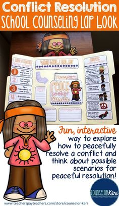 Conflict resolution school counseling lap book: a fun, interactive way to explore steps to peaceful resolution! -Counselor Keri