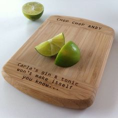 If youre more likely to have a G&T than a home-cooked meal (it happens!) what about this gin and tonic themed chopping board? Laser Cutter Ideas, Laser Cutter Projects, Anniversary Message, Wedding Anniversary Gifts, Happy Anniversary, Anniversary Ideas, Personalised Gin, Diy Wedding Gifts, Wedding Ideas