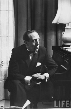 Pianist Vladimir Horowitz seated at the piano at his home in New York.