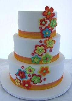 Simple Wedding cake. Each layer is a different cake.