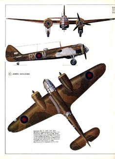 1937-1944 Bristol Blenheim. Light Bomber / Fighter. RAF, RCAF, FAF, RYAF. Engine: 2 x Bristol Mercury XV radial engine (920 hp) Armament: 1 x .303 Browning machine gun, 1 x 2 .303 browning guns under-nose or Nash & Thomson FN.54 turret, 2 x .303 Browning guns in dorsal turret. Max speed: 266 mph (428 km/h)