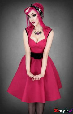 Pinup Fashion: cute hot pink dress and matching hair.