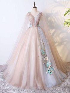 Unique V-neck Pink Tulle Long Evening Gown with 3D Flower Appliques #promdress #prom #dress #gown #promdresses