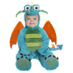 Darlin' Dragon: Our gorgeously-crafted dragon costume is pure fairytale magic, from the soft, detachable wings, to the stuffed, three-dimensional headpiece, to the darling tail. The plush jumpsuit is fully lined for baby's comfort, with back zipper and snap crotch for easy dressing and diaper changes. Tail detaches so baby can sit comfortably; adorable 'claws' extend over baby's hands. Headpiece fastens under the chin with a soft, hook 'n loop closure. Plush booties included.