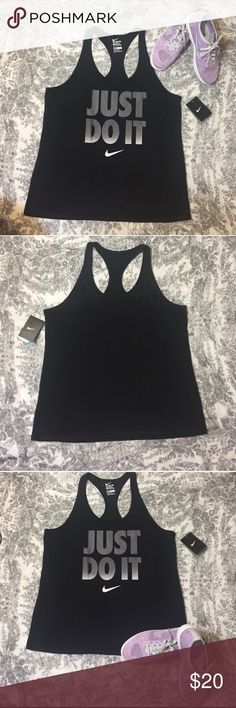 Nike Just Do It Racerback Nike Just Do It Racerback size this is not true to size I am a medium 5'1 and it fits me like a medium sliding into a large 💗NWT💗 Nike Tops Tank Tops