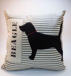 Beagle Pillow  Decorative Throw Pillow Cushion by ecarlateboutique