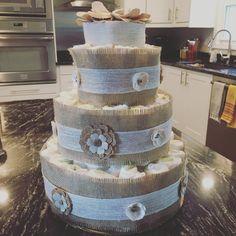 Make Diaper Cake With Wine Bottle Inside Baby Shower