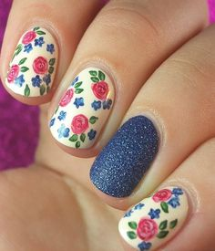 Most Beautiful Pink And Blue Flower Pink Nail Designs
