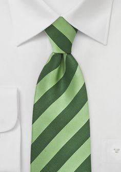 Trendy Green Striped Necktie.   CS0649