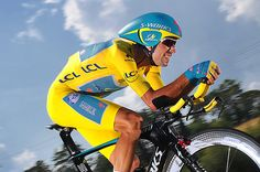 Credit: Tim de Waele/Corbis The yellow jersey wearer Vincenzo Nibali of the Astana Pro Team races to fourth place in the individual time trial and defends his overall race lead on Stage 20.