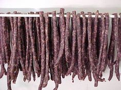 A South African dried sausage. Dried Sausage Recipe, Homemade Sausage Recipes, Venison Recipes, Meat Recipes, Mexican Food Recipes, South African Dishes, West African Food, South African Recipes, Meat Stick Recipe