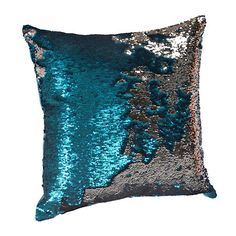 Turquoise and Silver Mermaid Sequin Pillow | Kirklands