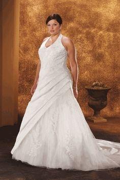 Hot Selling Plus Size Wedding Dresses A Line Halter Court Train Taffeta Online Sale