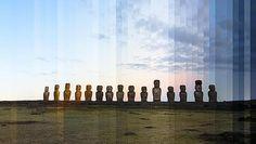 Las fotos de viajes más espectaculares: el día y la noche en una sola imagen. Tongariki, Isla de Pascua
