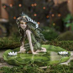 Porcelain Garden Fairy on a Lily Pad - Fairy Garden Supplies - Dollhouse Miniatures - Doll Supplies - Craft Supplies Fairy Statues, Fairy Figurines, Fairy Garden Supplies, Fairy Pictures, Black Flowers, Miniature Fairy Gardens, Fairy Art, Fairy Dolls, Fairy Houses