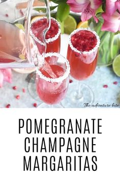 Pomegranate Champagne Margaritas are as delicious as they are head-turning. The perfect easy valentine's day cocktail! They are so dang pretty and go down way too easily! Champagne Margarita Recipe, Champagne Margaritas, Margarita Recipes, Pomegranate Margarita Recipe Pitcher, Cocktails With Champagne, Pomegranate Champagne Cocktail Recipes, Raspberry Margarita, Watermelon Margarita, Vodka Martini