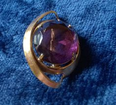 Vintage Brooch, Gold Brooch, Vintage Jewelry, Costume Jewellery, Purple Stone, Glass, Vintage Pin, Gifts for Her by TillyofBloomsbury on Etsy