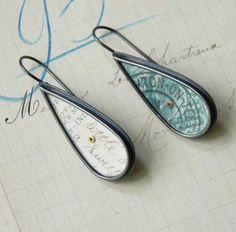 """Raindrop earrings -Clare Hillerby -  - at """"Forming Words"""" Flow gallery"""