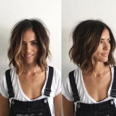 short lob hairstyles, brunette hair