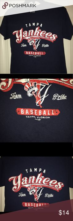 """Youth NY / Tampa Yankees ss graphic t-shirt sz: S Thank you for viewing my listing, for sale is a minor league baseball, Tampa Yankees, SS, graphic t-shirt. This is a youth / kids shirt.   Shirt is in great condition, no rips or stains  Sz: S If you have any questions or would like additional photos please feel to ask. From under one arm to under the other measures appx 18"""" from the top of the shoulder to the bottom of the shirt measures appx 25"""" Gildan Shirts & Tops Tees - Short Sleeve"""
