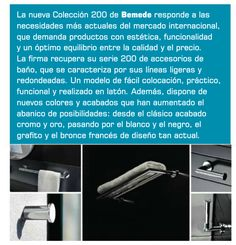 Publicación en revista IMCB 92. Accesorios de baño en latón cromado de la Colección 200 de BEMEDE