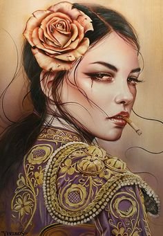 Brian M. Viveros - Echoes in the Wind - 2016 Cindy Sherman, Wolf, Detailed Paintings, Smoke Art, Pop Culture Art, Girl Smoking, Woman Drawing, Pop Surrealism, Pin Up Art