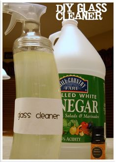 DIY Glass Cleaner (I use it as All Purpose cleaner).  3:1 Water with Vinegar.  I've been using this as an all purpose cleaner for months now...on counters, toilets, mirrors, etc.  It's non-toxic.  Contrary to what this blogger writes, I found that a little peppermint essential oil masks the vinegar smell completely (give it a few hours to permeate).  Plus, peppermint oil deters spiders - bonus!!