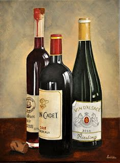 Wine bottles, red wine, white wine, alcohol, drinks, still life, painting, acrylic painting Burnt in Sienna