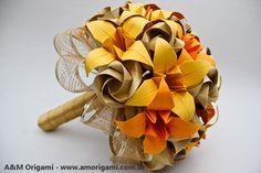 Buquê de rosas com lírios {noiva} - A&M Origami