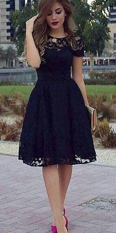 #black A-Line #lacedress #summeroutfit #womenfashion2018 #summer #summer2018